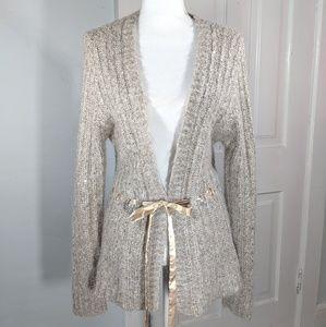 Garnet Hill S Fuzzy Sequin Beige RibbonWaist Cardi